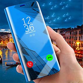 levne iPhone pouzdra-Carcasă Pro Apple iPhone XR / iPhone XS Max se stojánkem / Galvanizované / Zrcadlo Celý kryt Jednobarevné Pevné PU kůže pro iPhone XS / iPhone XR / iPhone XS Max