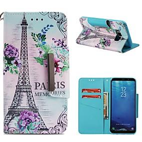 voordelige Galaxy S7 Edge Hoesjes / covers-hoesje Voor Samsung Galaxy S9 / S9 Plus / S8 Plus Portemonnee / Kaarthouder / Schokbestendig Volledig hoesje Eiffeltoren Hard PU-nahka