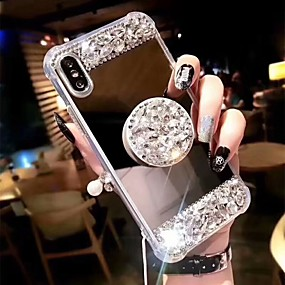 abordables Coques d'iPhone-Coque Pour Apple iPhone XS Max / iPhone 6 Antichoc / Avec Support Coque Strass Dur Acrylique pour iPhone XS / iPhone XR / iPhone XS Max
