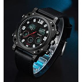 Недорогие Фирменные часы-ASJ Муж. Спортивные часы электронные часы Японский Японский кварц Натуральная кожа Черный 100 m Повседневные часы Аналого-цифровые На каждый день Мода - Черный Два года Срок службы батареи