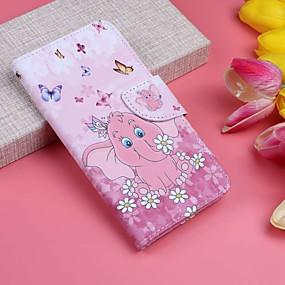 voordelige Galaxy S7 Edge Hoesjes / covers-hoesje Voor Samsung Galaxy S9 / S9 Plus / S8 Plus Portemonnee / Kaarthouder / met standaard Volledig hoesje Vlinder / Olifant Hard PU-nahka