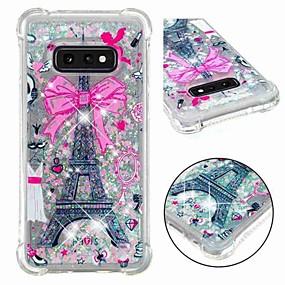voordelige Galaxy S7 Edge Hoesjes / covers-hoesje Voor Samsung Galaxy S9 / S9 Plus / S8 Plus Schokbestendig / Stromende vloeistof / Transparant Achterkant Eiffeltoren / Glitterglans Zacht TPU