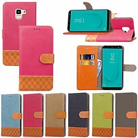 voordelige Galaxy J3(2017) Hoesjes / covers-hoesje Voor Samsung Galaxy J7 Prime / J7 (2017) / J7 (2018) Kaarthouder / met standaard / Flip Volledig hoesje Effen / Geometrisch patroon Hard tekstiili