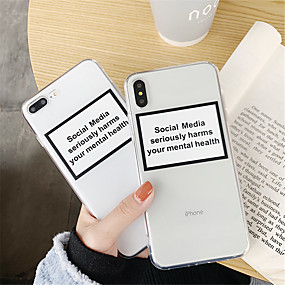 abordables Cool & Fashion Cases pour iPhone-Coque Pour Apple iPhone XR / iPhone XS Max Transparente Coque Mot / Phrase / Transparente Flexible TPU pour iPhone XS / iPhone XR / iPhone XS Max