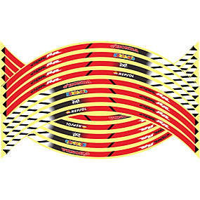 billige Car Body Decoration & Protection-16 stk nye 17/18/19 tommer motorcykel reflekterende hjul hub klistermærker auto decors hjul klistermærker på bil styling