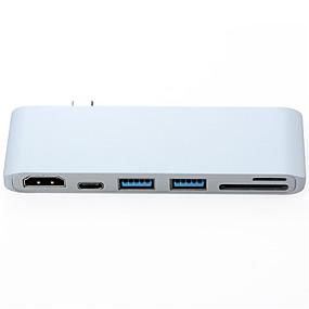 رخيصةأون اكسسوارات ماك بوك-OTG / HDMI / DP Adapter / كابل <1m / 3ft كله في 1 / OTG البلاستيك والمعادن / ABS + PC محول كابل أوسب من أجل Macbook