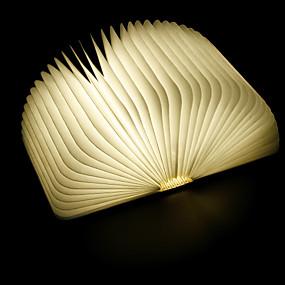 billige Nattlamper med LED-1pc tyvek papirfolding ledet boklampe innebygd li-batteridrevet, sammenleggbart oppladbart dekorativt lys med USB-port, lett å bære 5 farger med lys og 8 farger med lysgradient