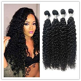 cheap Hair Extensions-4 Bundles Brazilian Hair Kinky Curly Virgin Human Hair Natural Color Hair Weaves / Hair Bulk Bundle Hair Human Hair Extensions 8-28 inch Natural Color Human Hair Weaves Odor Free Valentine Sexy Lady