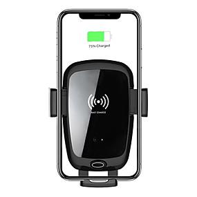 voordelige Autoladers-draadloze auto-oplader mount 7.5w / 10w snel opladen auto-klemmend dashboard ontluchter telefoonhouder mount / type c input