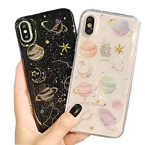 olcso iPhone tokok-Case Kompatibilitás Apple iPhone X / iPhone 8 / iPhone 8 Plus Átlátszó / Minta Fekete tok Ég Puha Szilikon mert iPhone XS / iPhone XR / iPhone XS Max