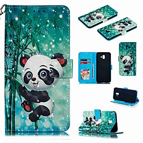 voordelige Galaxy J3(2017) Hoesjes / covers-hoesje Voor Samsung Galaxy J7 (2017) / J7 (2018) / J6 (2018) Portemonnee / Kaarthouder / Schokbestendig Volledig hoesje Cartoon / Panda Hard PU-nahka