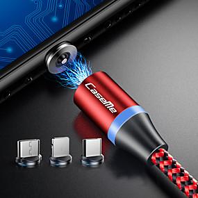 povoljno Mi 9 SE-Caseme iphone / type-c / micro usb 2 u 1 magnetni punjač kabel telefon brzo punjenje led 1.0m (3ft) najlon opleten android za iphone / samsung / huawei / sony