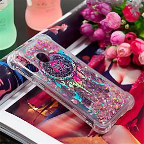 voordelige Galaxy A3(2016) Hoesjes / covers-hoesje Voor Samsung Galaxy A6 (2018) / A6+ (2018) / Galaxy A7(2018) Schokbestendig / Stromende vloeistof / Patroon Achterkant Veren / Glitterglans Zacht TPU