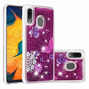voordelige Galaxy A3(2016) Hoesjes / covers-case voor samsung galaxy samsung galaxy a70 (2019) / a7 (2018) patroon / transparant / vloeiende vloeistof achterkant glitter shine / butterfly zachte tpu voor galaxy a30 (2019) / galaxy a50 (2019) /