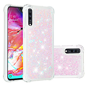 voordelige Galaxy A3(2016) Hoesjes / covers-hoesje Voor Samsung Galaxy A6 (2018) / A6+ (2018) / Galaxy A7(2018) Schokbestendig / Stromende vloeistof / Transparant Achterkant Glitterglans Zacht TPU
