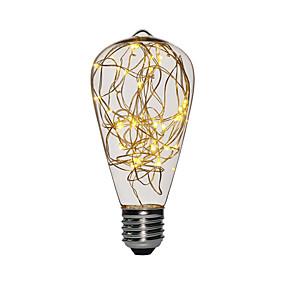 povoljno LED žarulje s nitima-1pc 3 W LED filament žarulje 200-300 lm E26 / E27 ST64 25 LED zrnca SMD Ukrasno Božićni vjenčani ukrasi Svjetlo bakrene žice Toplo bijelo 85-265 V