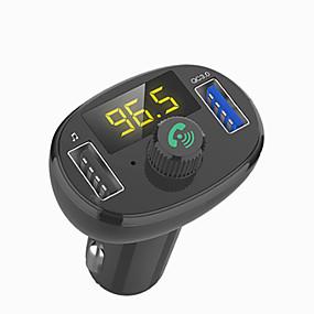 voordelige Autoladers-3-poorten usb type-c snellader auto-oplader adapter led voltmeter / auto bluetooth fm radiozender