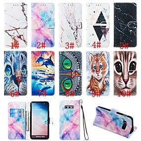 voordelige Galaxy S7 Hoesjes / covers-hoesje Voor Samsung Galaxy S9 / S9 Plus / S8 Plus Portemonnee / Kaarthouder / met standaard Volledig hoesje dier / Marmer Hard PU-nahka