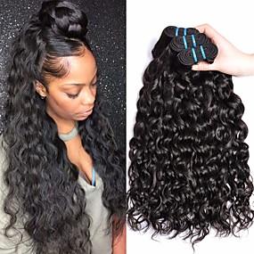 cheap Hair Extensions-4 Bundles Brazilian Hair Water Wave Virgin Human Hair Remy Human Hair Natural Color Hair Weaves / Hair Bulk Extension Bundle Hair 8-28 inch Natural Color Human Hair Weaves Odor Free Soft Fashion