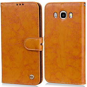 cheap Samsung Accessories-Case For Samsung Galaxy J5(2016) Card Holder / Flip Full Body Cases Solid Colored Hard PU Leather for J5 (2016)