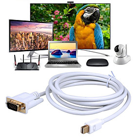 voordelige DisplayPort-mini dp naar vga cable mini-displayport (bliksemschicht 2) naar vga-adapter compatibel met mackbook pro / air imac dell monitoroppervlak