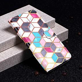 voordelige Galaxy S7 Edge Hoesjes / covers-hoesje Voor Samsung Galaxy S9 / S9 Plus / S8 Plus Portemonnee / Kaarthouder / Schokbestendig Volledig hoesje Marmer Hard PU-nahka