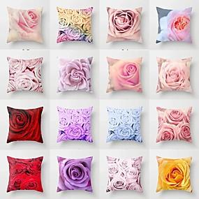 baratos Casa & Cozinha-Nova flor impressão fronha capa de almofada floral sofá decorativo capa de almofada para decoração de casa 45x45 cm