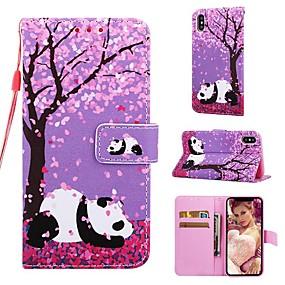 levne iPhone pouzdra-Carcasă Pro Apple iPhone XR / iPhone XS Max Peněženka / Pouzdro na karty / se stojánkem Celý kryt Panda / Květiny Pevné PU kůže pro iPhone XS / iPhone XR / iPhone XS Max
