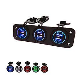 voordelige Autoladers-5v 3.1a autolader drie-gats paneel met 6 usb-poort waterdichte stroomadapters stopcontact