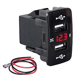 voordelige Autoladers-slot type autolader dual usb 3.1a multifunctionele snellader met spanningsmeter voor auto's voor honda modellengroen licht