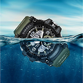 voordelige Merk Horloge-SMAEL Heren Sporthorloge Modieus horloge Dress horloge Kwarts Digitaal Silicone Meerkleurig 50 m Waterbestendig Alarm Kalender Analoog-Digitaal Amulet Klassiek Informeel camouflage Bangle - Zwart
