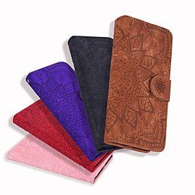 cheap Daily Deals-Case For Samsung Galaxy Note 9 / Samsung Note 10 Card Holder / Flip / Embossed Full Body Cases Solid Colored / Flower PU Leather