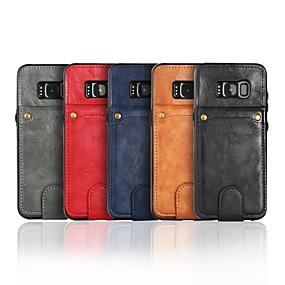 voordelige Galaxy S7 Edge Hoesjes / covers-hoesje Voor Samsung Galaxy S9 / S9 Plus / S8 Plus Kaarthouder / met standaard Achterkant Effen PU-nahka