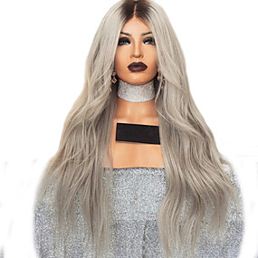 cheap Wigs & Hair Pieces-Synthetic Wig kinky Straight Style Middle Part Machine Made Wig Silver Synthetic Hair 26 inch Women's Women Dark Brown Wig Long Natural Wigs