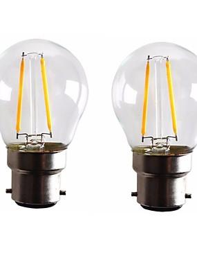 رخيصةأون مصابيح خيط ليد-ONDENN 2pcs 2W 160-200lm B22 مصابيحLED G45 2 الخرز LED COB تخفيت أبيض دافئ 110-130V 220-240V