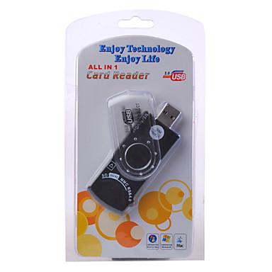 9-in-1 USB 2.0 SD ms SIM-kortin lukija (musta)
