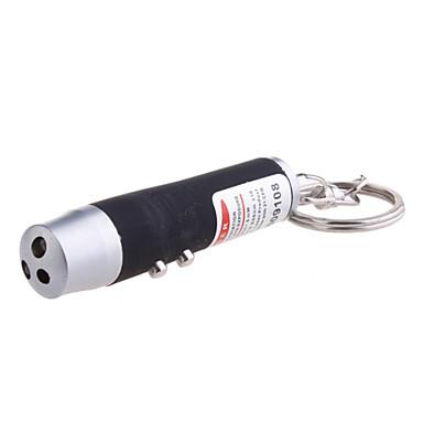 3-i-1 röd laser + vitt ljus + UV-ljus LED-ficklampa nyckelring (3 * LR44 färg diverse)
