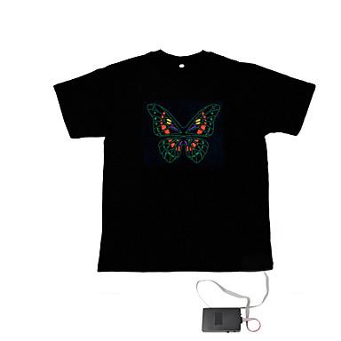 LED T-shirts Door Geluid Geactiveerde LED Lampen Textiel Noviteit 2 AAA Batterijen