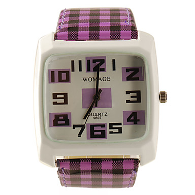 Lattice Style PU Leather Band Fashion Square Face Wrist Quartz Watch - Purple