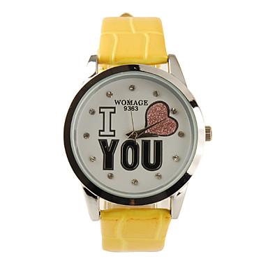 I Love You Pattern PU Leather Band Cute Quartz Lady's Wrist Watch - Yellow