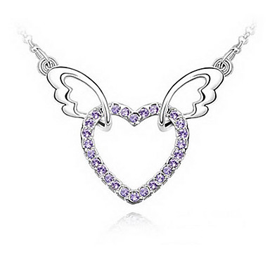 Purple Shining Crystal And Platinum Plated Alloy Winged Heart Pendant Necklace