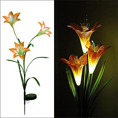 1PCS Powerfrugal LED Solar 3 Lilies Flower Lawn Light Water Resistant Lamp