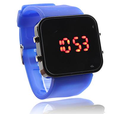 unisex Digital LED quadrado caixa azul silicone banda relógio de pulso