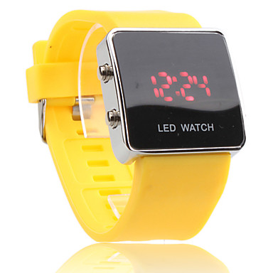 Unisex LED Digital Square Case Yellow Silicone Band Wrist Watch