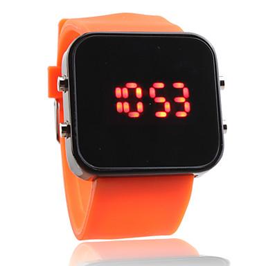 la bande de silicone Femmes Hommes gelée de sport style carré miroir montre-bracelet a conduit - orange