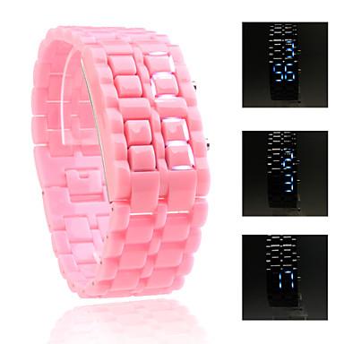 digital Lava Stil Eisen Sport unisex blaue LED gesichtslosen Armbanduhr - pink