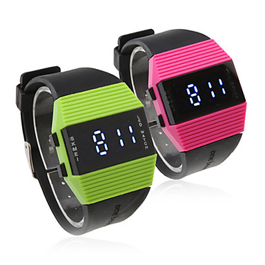 Pair of Silicone Band Sports Style Blue Light LED Wrist Watches - Peach Red & Green