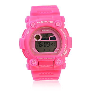 Waterproof Sporty Single Movement Digital Stop Automatic Watch with Night Light - Peach Red