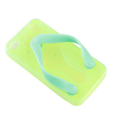 flip-flageller cas couvrent pantoufle de TPU pour iPhone 4 - vert