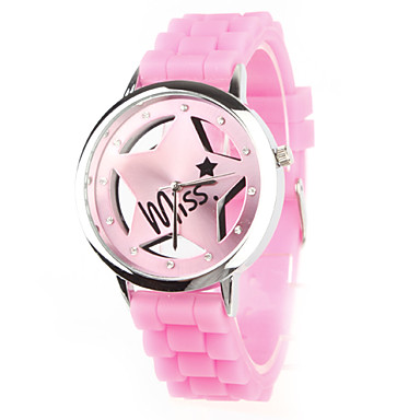 Quartz-ur med Silikonband (Rosa)
